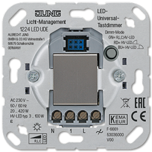 Механизм светорегулятора универсального клавишного, с двух мест, 20-420 Вт/ВА, для диммируемых диодных ламп LEDi тип С 3-100Вт ,1224LEDUDE